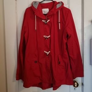 Red toggle anorak jacket